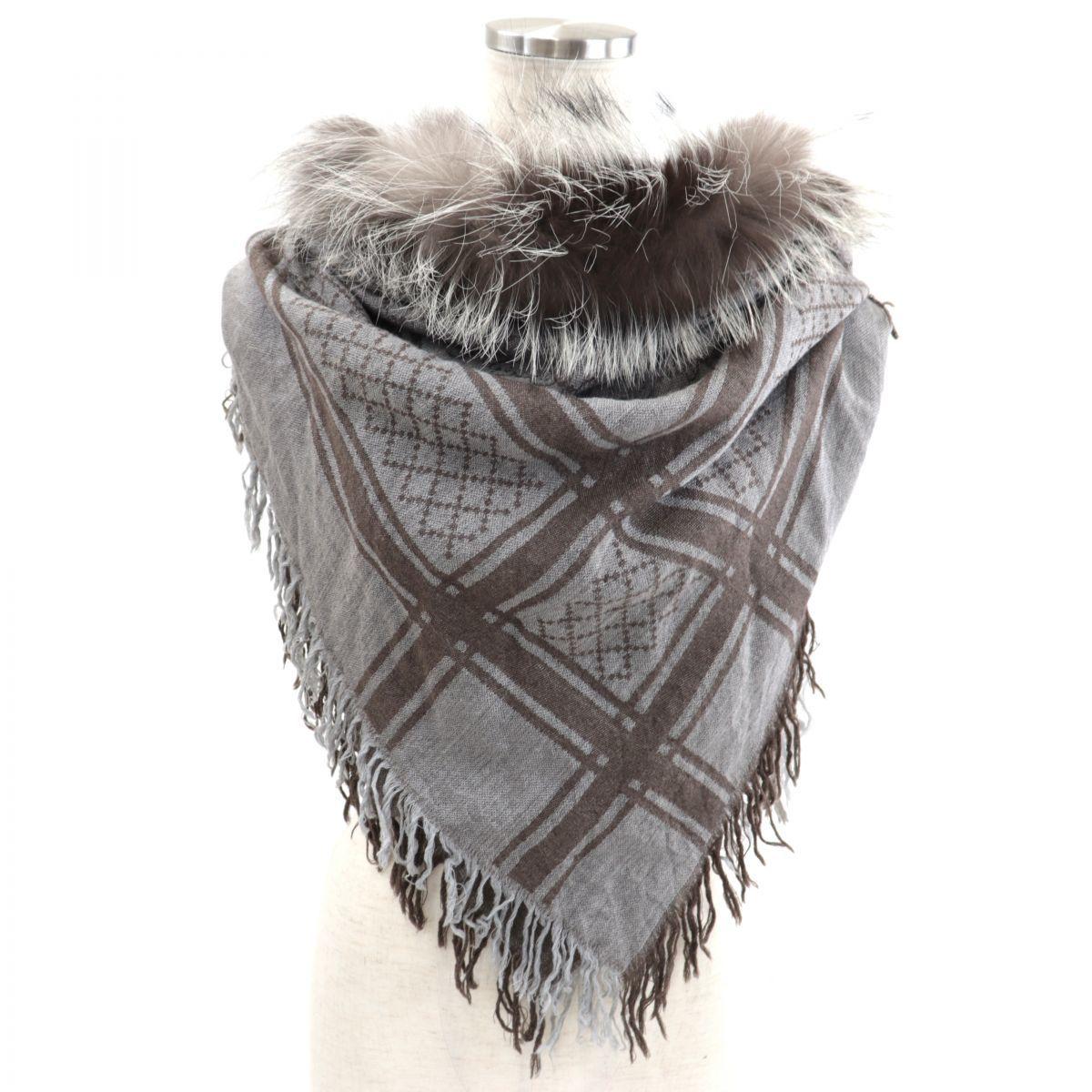 Gucci Fox Fur GG Pattern Large Format Stole Ladies GrayBrown Shawl Fringe