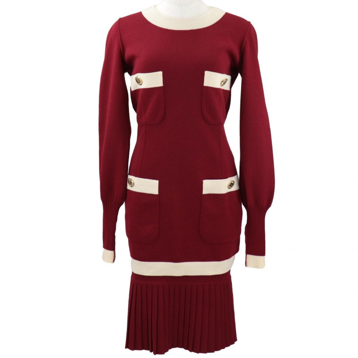 Chanel Vintage Knit Dress Setup Ladies Red Gathered Skirt Coco Mark Button VINTAGE