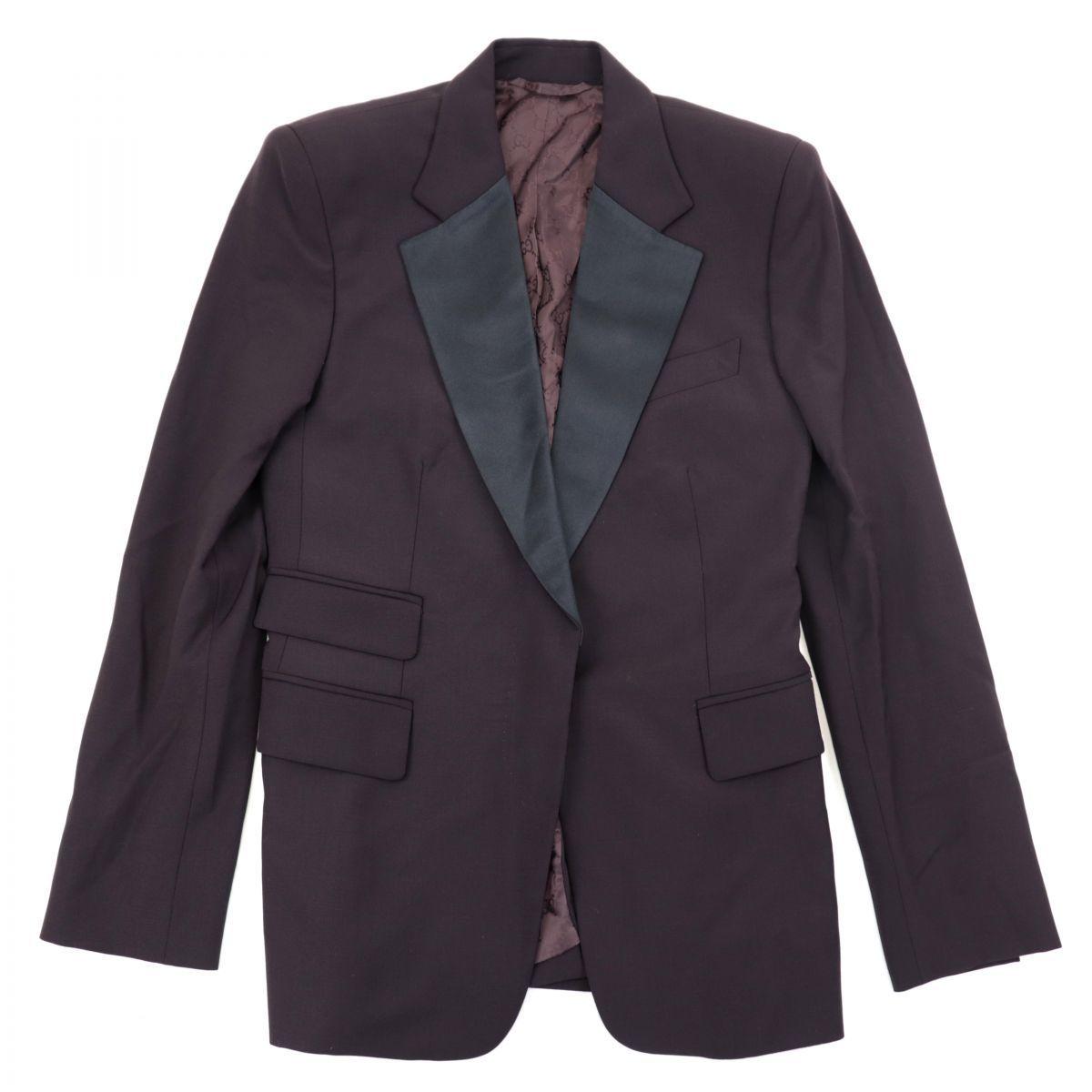 Gucci GG Pattern Lining 1B Single Tailored Jacket Women's Burgundy 38 Satin Lapel