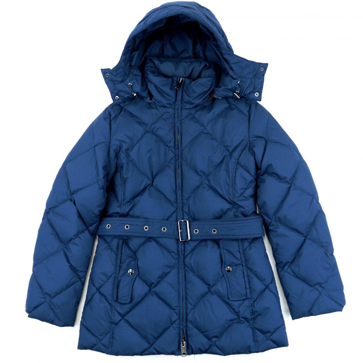 Burberry Down Coat Women's Blue S Lining Plaid Zip Up Belt