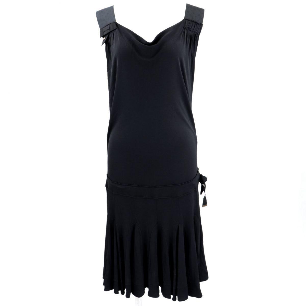 Louis Vuitton 09AW Monogram Sleeveless Flare Dress Ladies Black Rayon