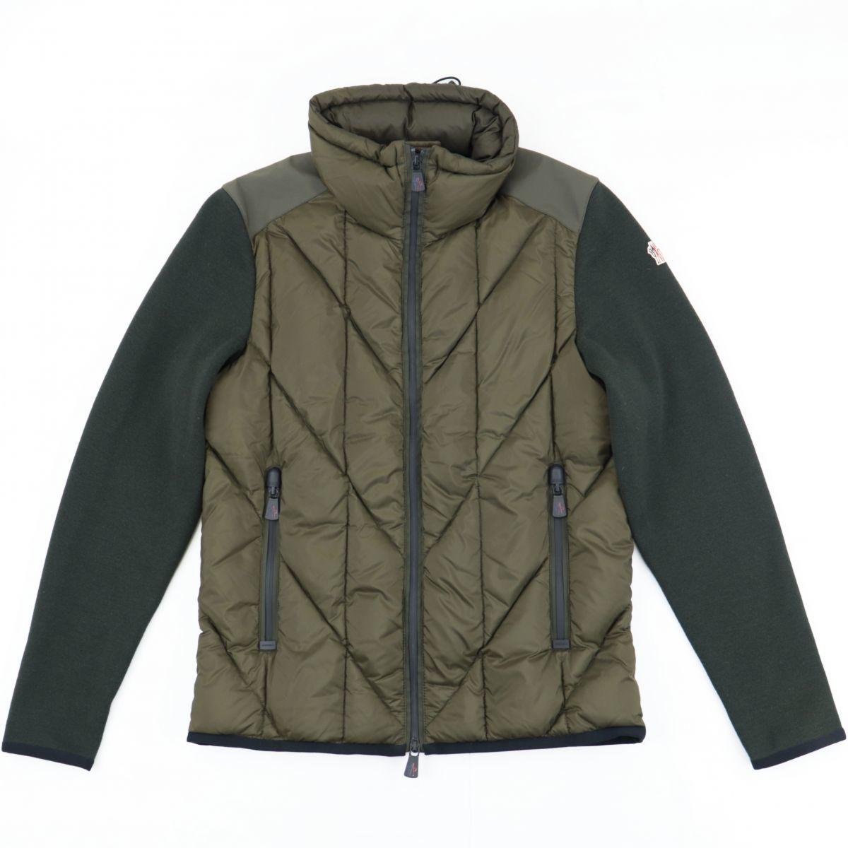 Moncler Grenoble Knit Switching Down Cardigan Men's Khaki M Jacket Zip Up GRENOBLE