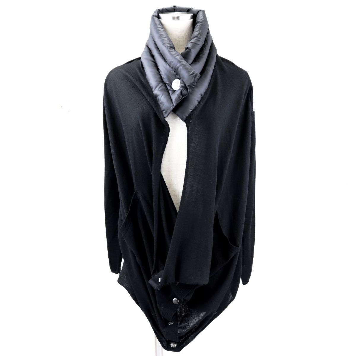 Moncler Down Switching Wool Knit Cardigan Ladies Black XS Domestic Regular