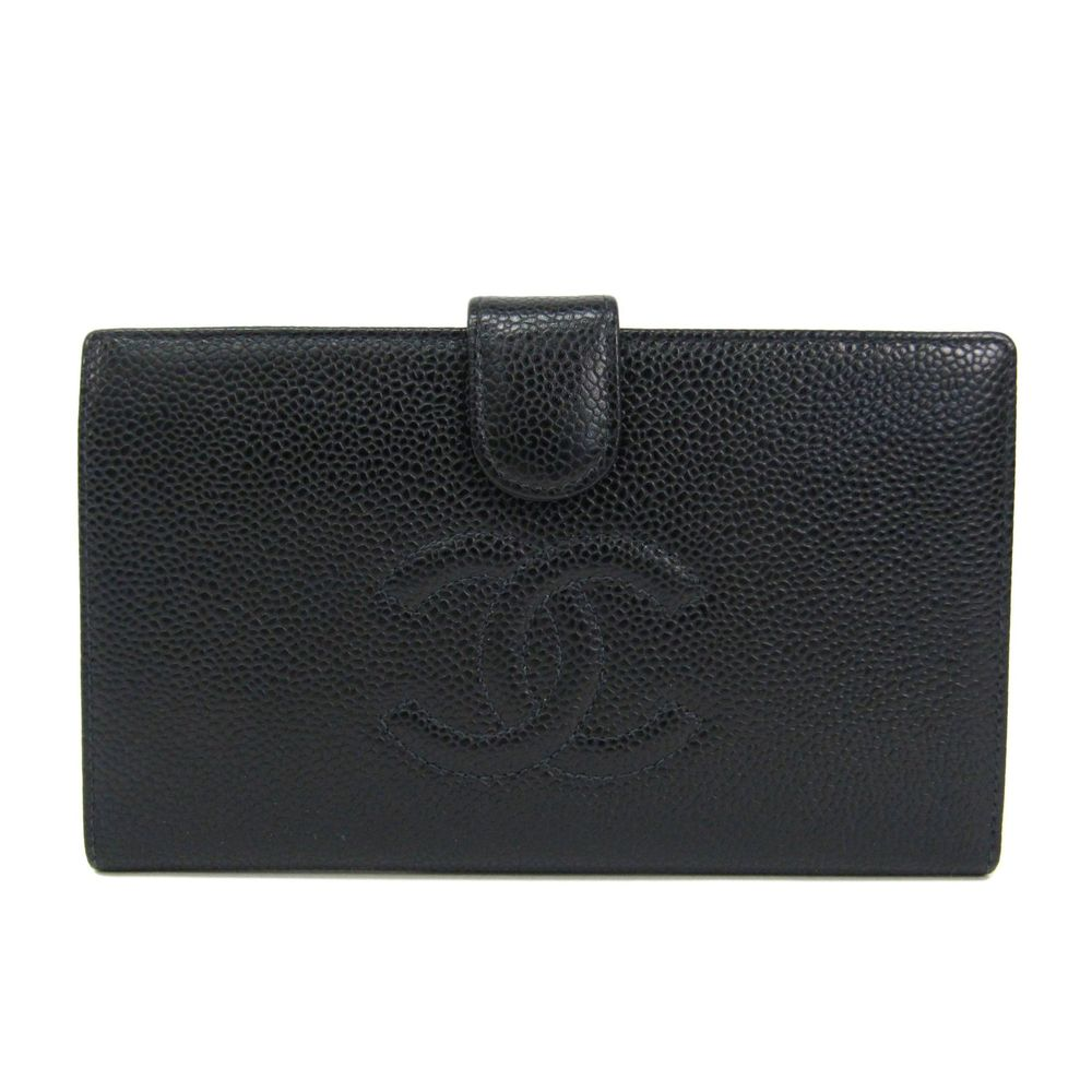 CHANEL Bifold Long Wallet Caviar Skin Black A13498
