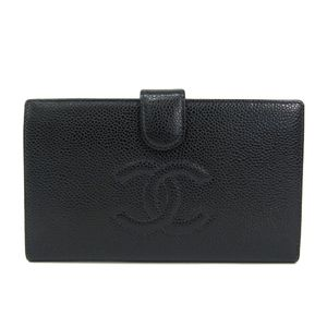 シャネル(Chanel) シャネル 二つ折り長財布 キャビアスキン ブラック A13498