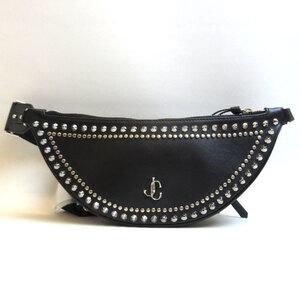 Jimmy Choo Bum Bag Waist Pouch FIFER Black Studs Men's Women's Calf Leather