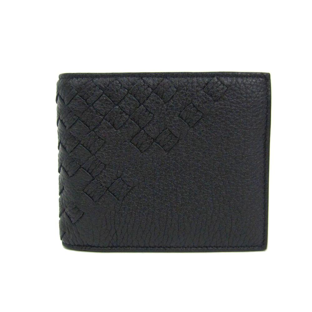 ボッテガ・ヴェネタ(Bottega Veneta) ボッテガヴェネタ 二つ折り財布 イントレチャート カーフレザー ブラック