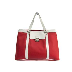 BVLGARI Tote Bag Millerighe PVC/Leather Red/White