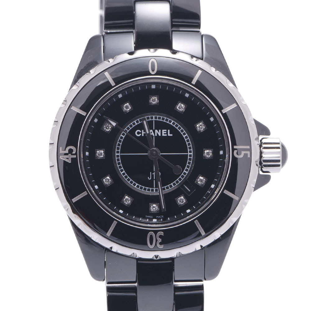 CHANEL J12 33mm 12P Diamond H1625 Ladies Black Ceramic Stainless Steel Watch Quartz Dial