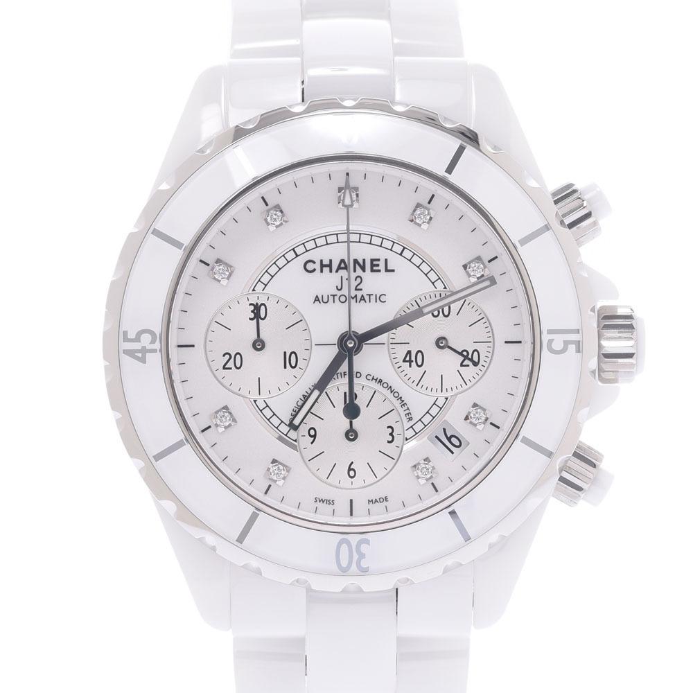 CHANEL J12 Chrono 9P Diamond H2009 Men's White Ceramic Stainless Steel Watch Automatic Dial