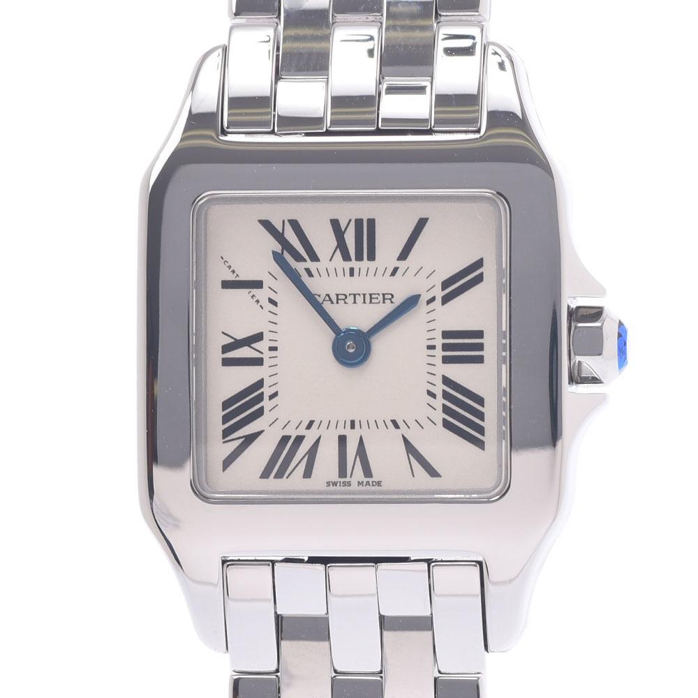 CARTIER Cartier Santos Dumo Azel SM W25064Z5 Ladies Stainless Steel Watch Quartz Ivory Dial
