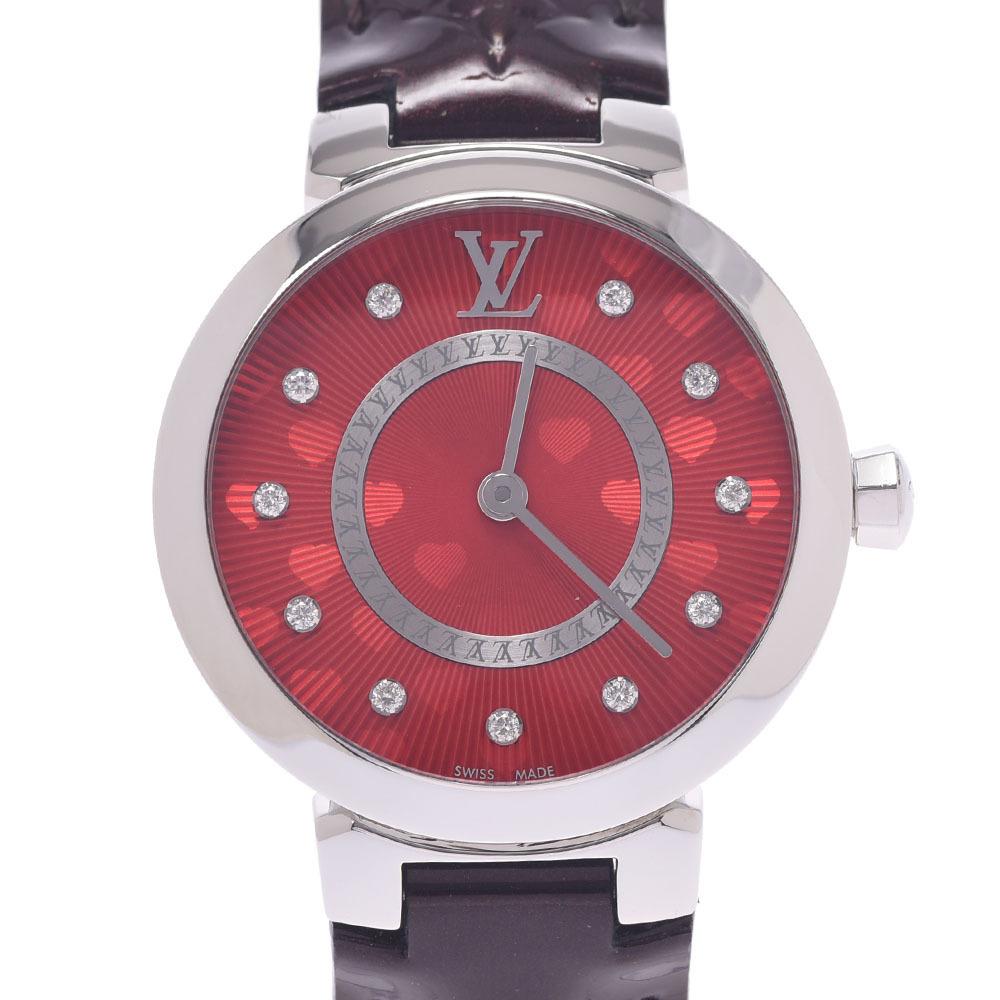 LOUIS VUITTON Louis Vuitton Tambour 11P Diamond Q1J03 Ladies Stainless Steel Leather Watch Quartz Red Dial