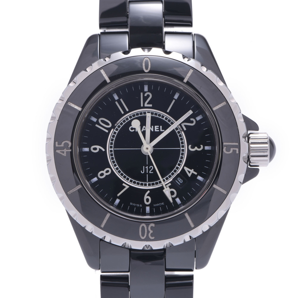 CHANEL J12 33mm H0682 Ladies Black Ceramic Stainless Steel Watch Quartz Dial