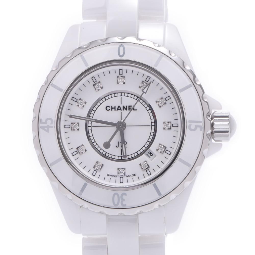 CHANEL J12 33mm 12P Diamond H1628 Ladies White Ceramic Stainless Steel Watch Quartz Dial