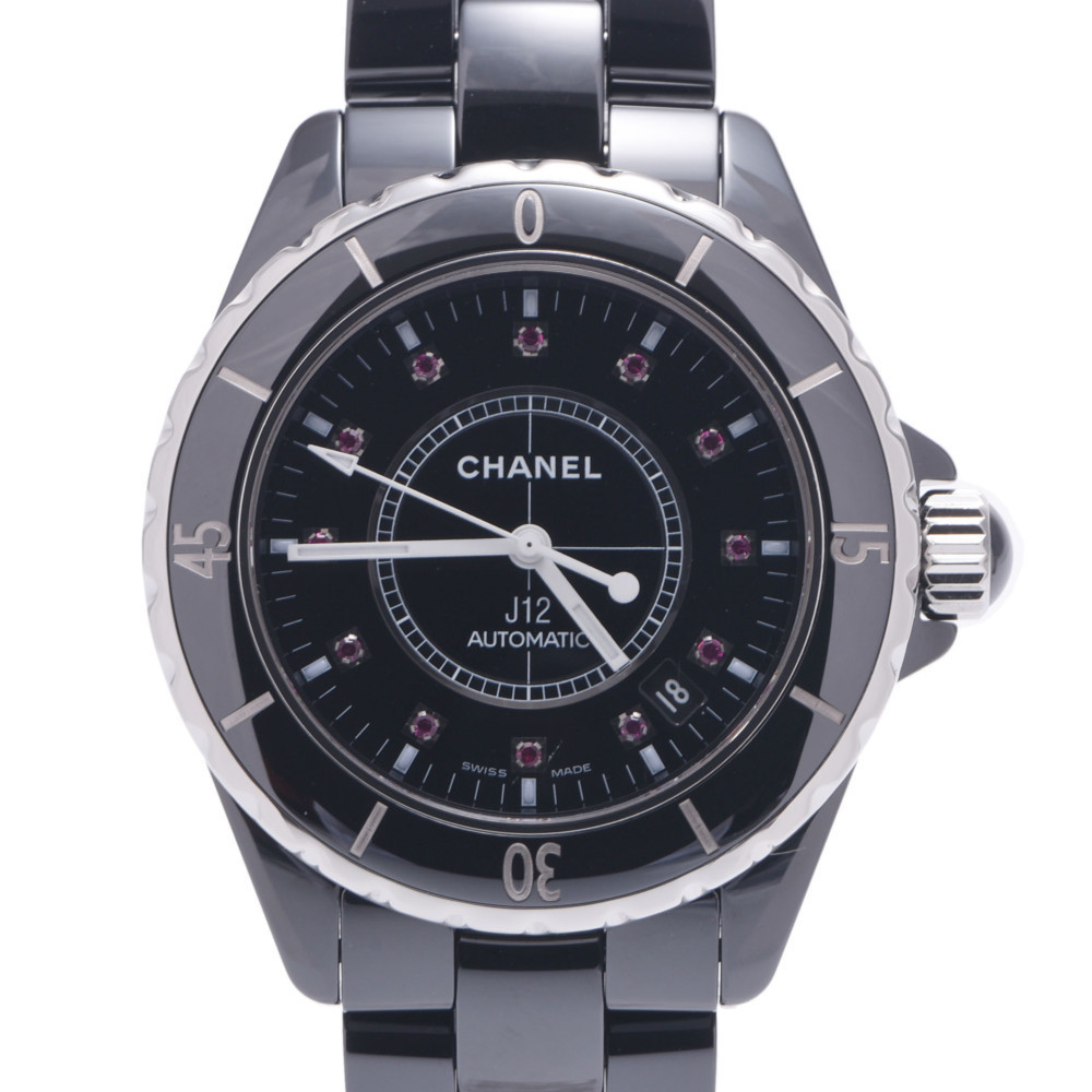 CHANEL J12 38mm 12P Ruby H1635 Boys Black Ceramic Stainless Steel Watch Automatic Dial