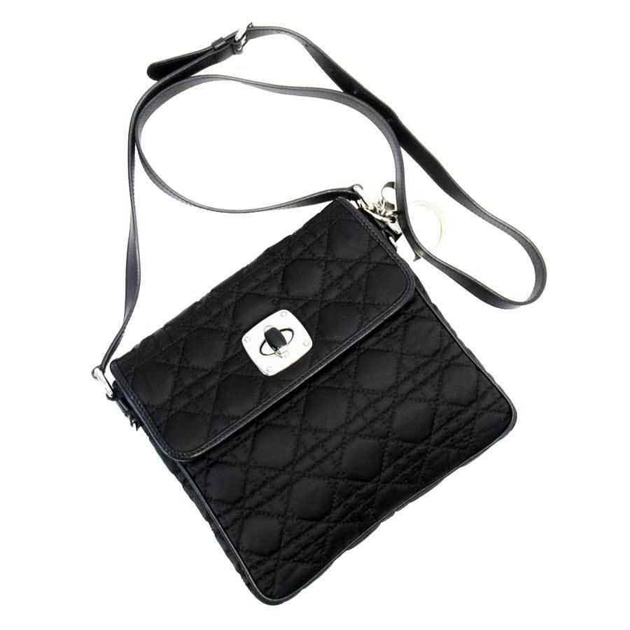 Christian Dior Shoulder Bag Canage Black Silver Nylon