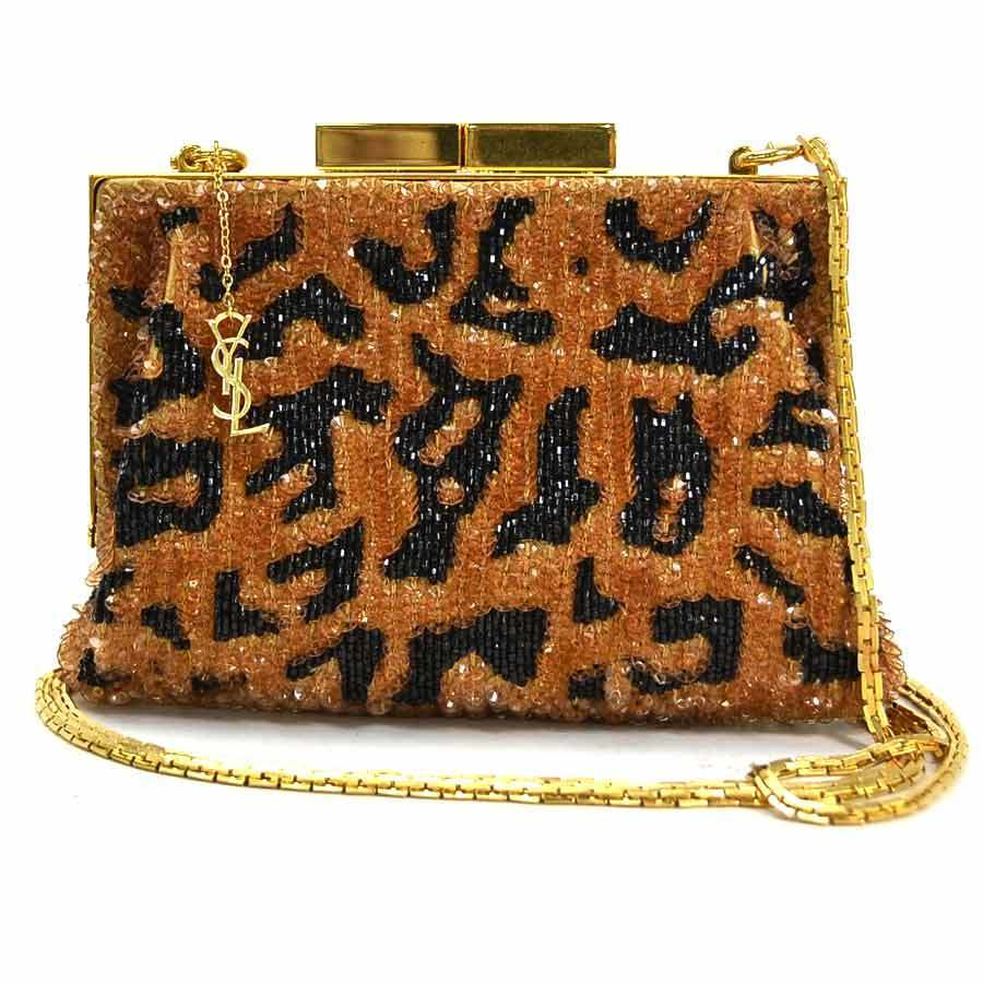 Saint Laurent SAINT LAURENT mini chain shoulder bag pouch leopard pattern brown black beads sequin gold metal fittings ladies