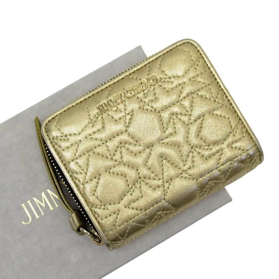 Jimmy Choo Bi-Fold Wallet Star Stitch Gold Leather