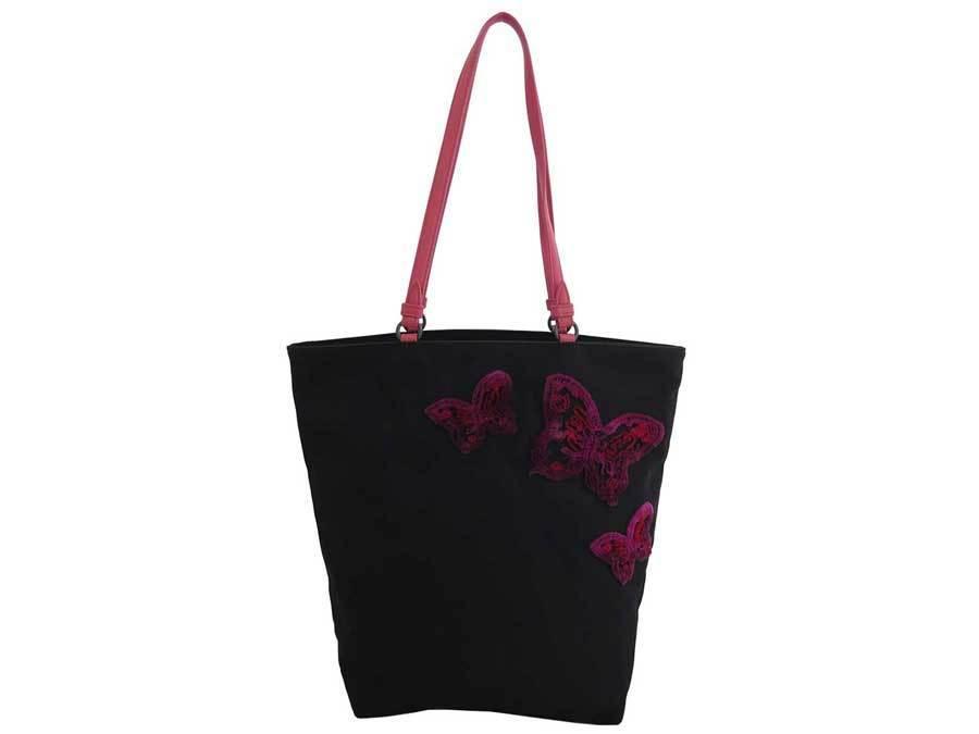 BOTTEGA VENETA Bag Butterfly Black Pink Nylon Leather Tote Shoulder Ladies