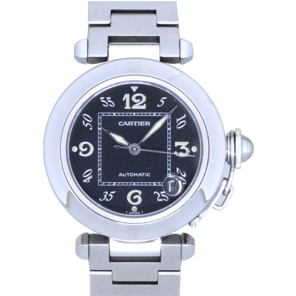 Cartier Pasha C self-winding watch W31043M7 SS black dial automatic AT 0008CARTIER unisex men's women's