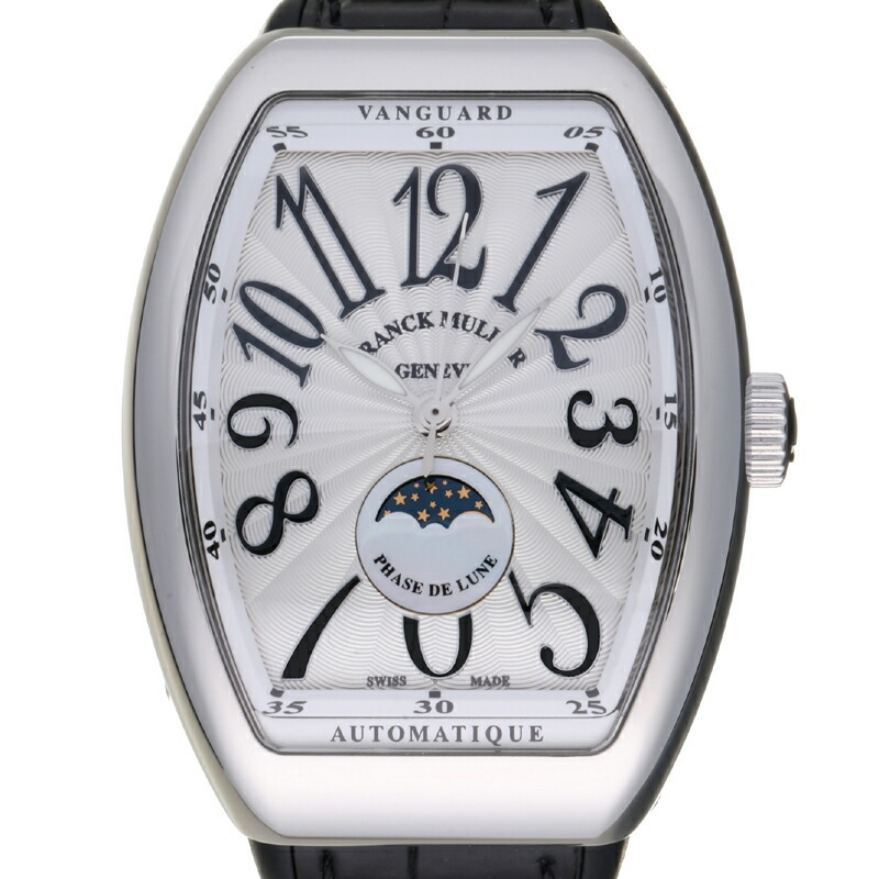 Franck Muller Vanguard Moon Phase Ladies Watch V35 SC AT FO L AC Stainless Steel Silver Arabian Dial