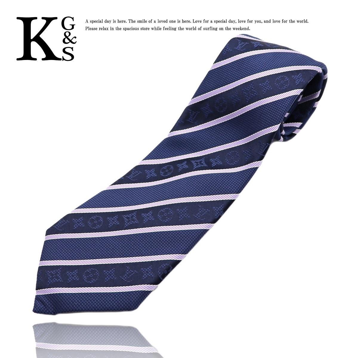 ルイ・ヴィトン(Louis Vuitton) ロゴ ストライプ メンズ ネクタイ シルク ストライプ ネイビー