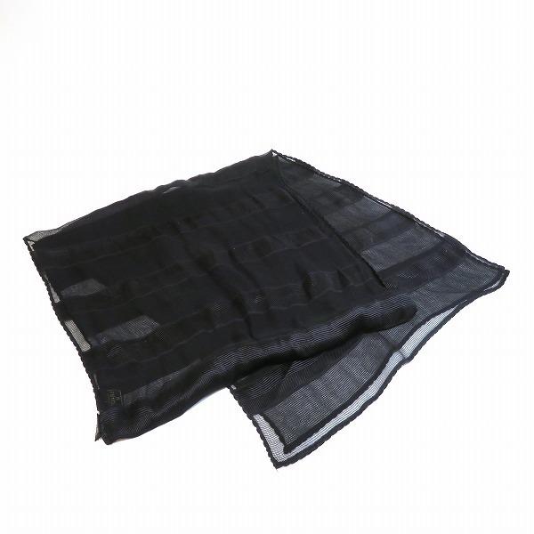 FENDI Silk Shawl Black Stole Unisex
