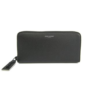Saint Laurent Zip Around Wallet Calfskin Leather Black 414680