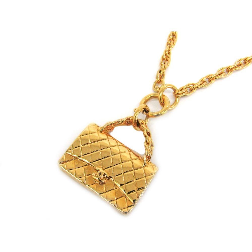CHANEL Bag motif Necklace Metal Gold