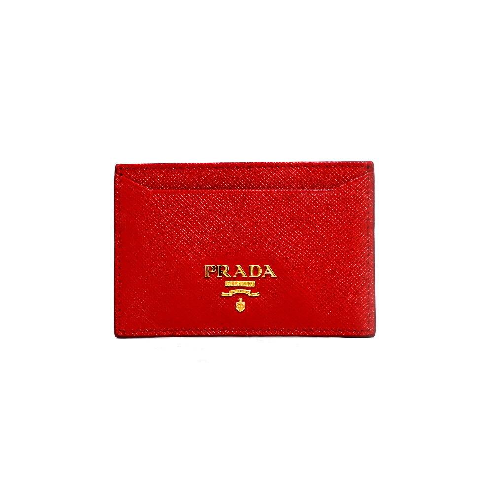 PRADA Prada Card Case Saffiano Gold Hardware Logo 1M0208 Red Foco Women's Men's Leather