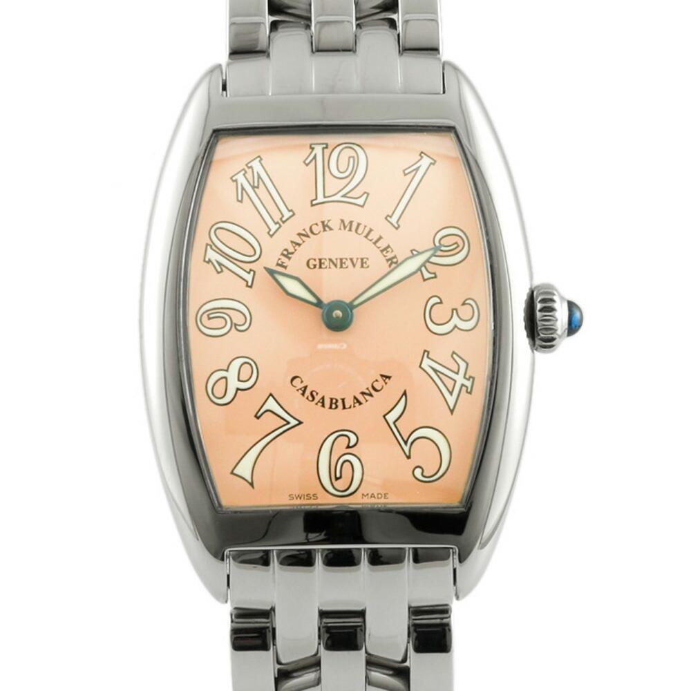 FRANCK MULLER SS watch bracelet bangle Casablanca 1752QZ silver salmon pink ladies