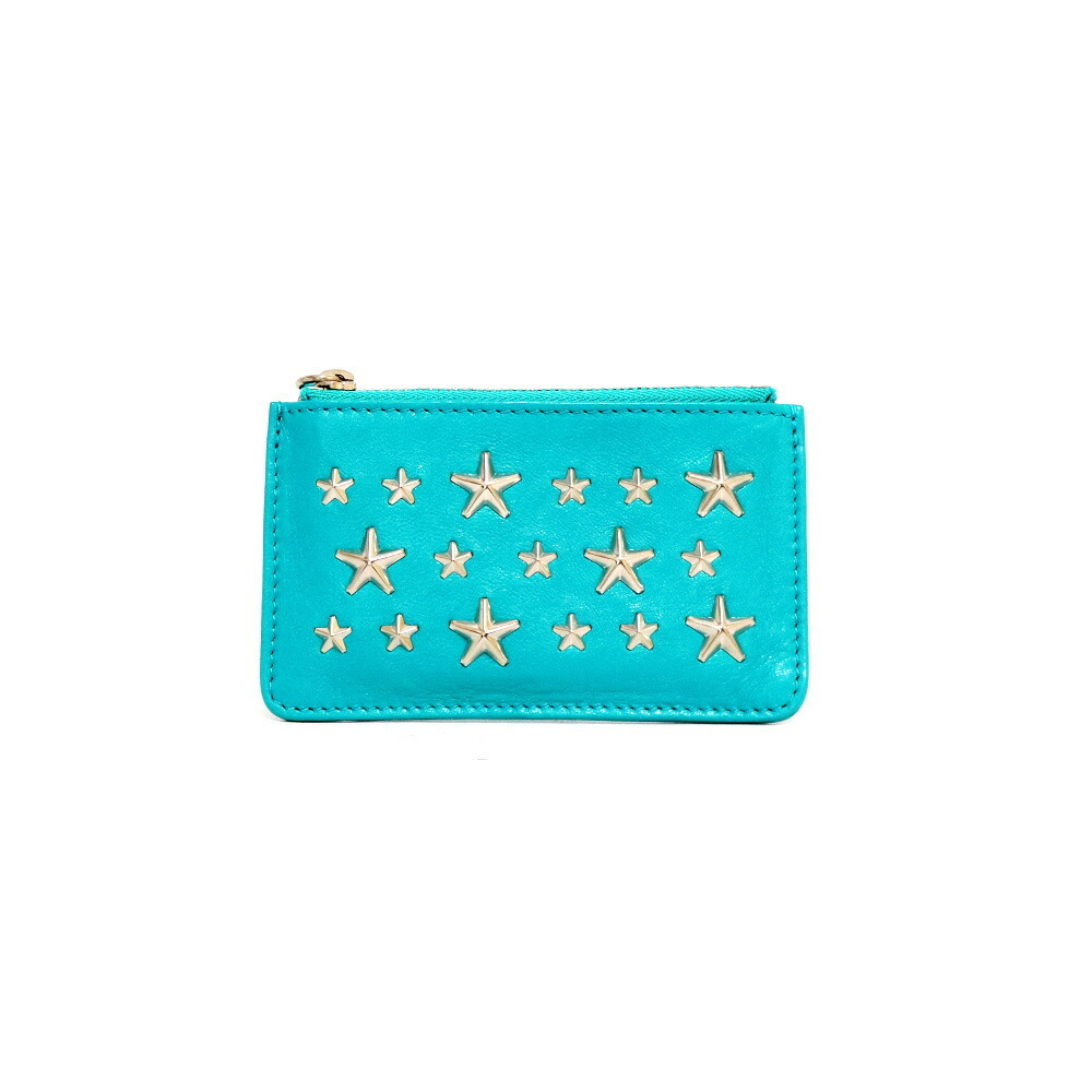 JIMMY CHOO coin case studs star mint green ladies men's leather