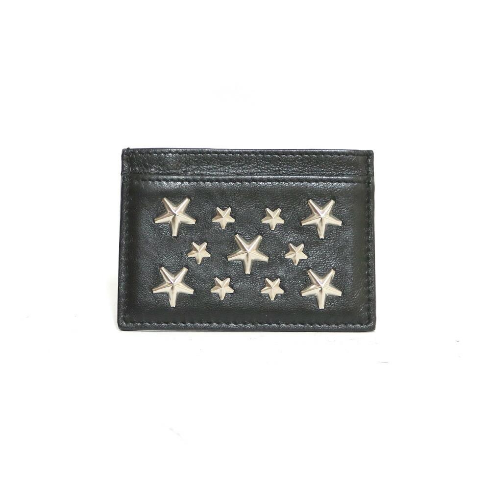 JIMMY CHOO Card Case Studs Star Business Holder Black Women's Men's Leather