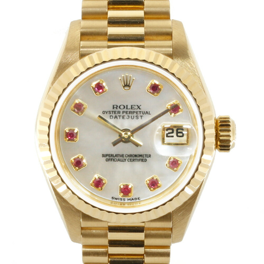 ROLEX K18YG Watch Oyster Perpetual K Number 2001 10P Ruby Shell Datejust 79178NGR Gold White Ladies 18K