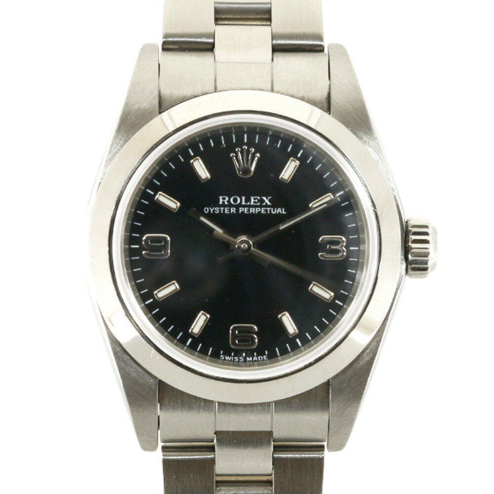 ROLEX SS Watch Oyster Perpetual D No. 2005 76080 Silver Black Ladies