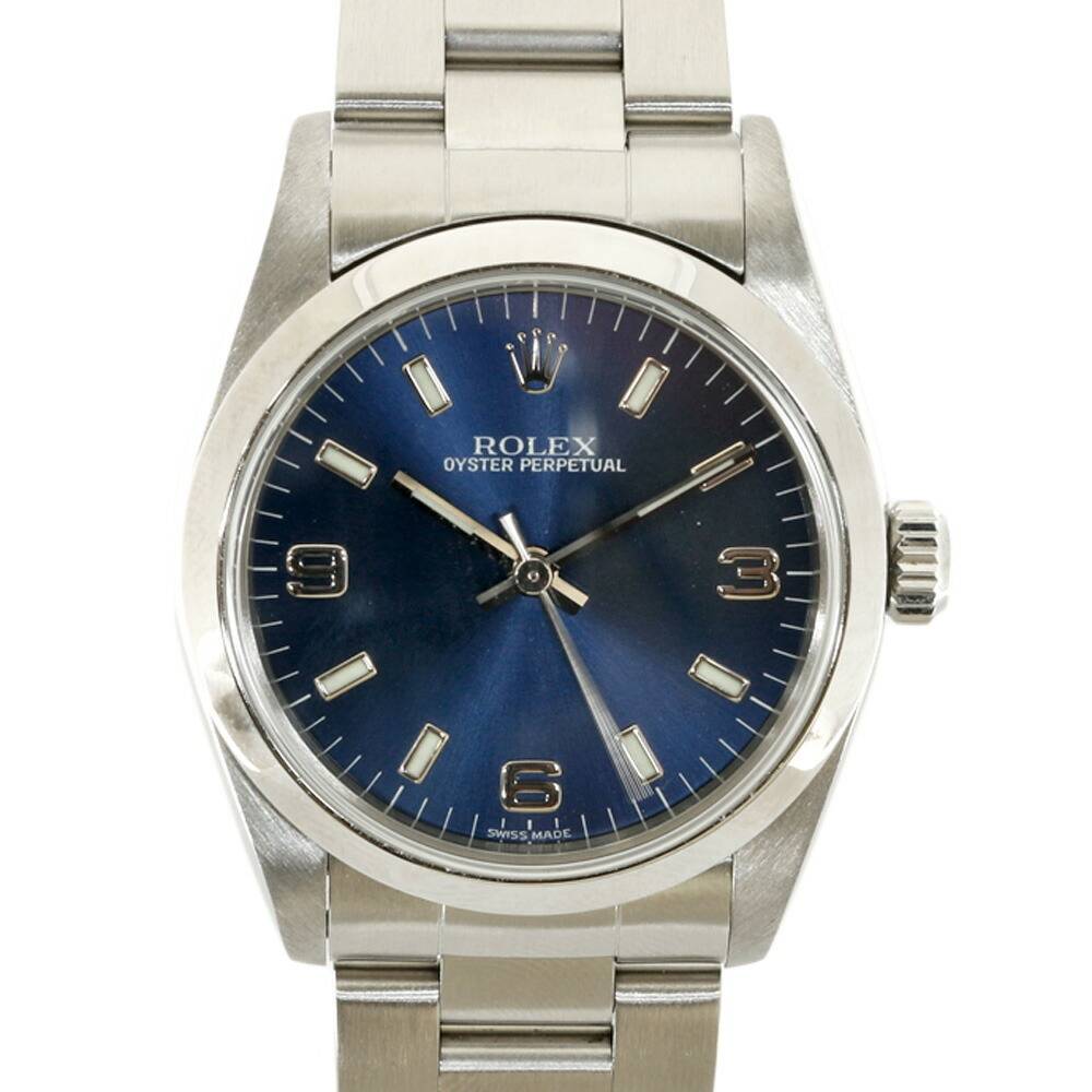 ROLEX SS Watch Oyster Perpetual A No. 1998-1999 77080 Silver Blue Women's Men's