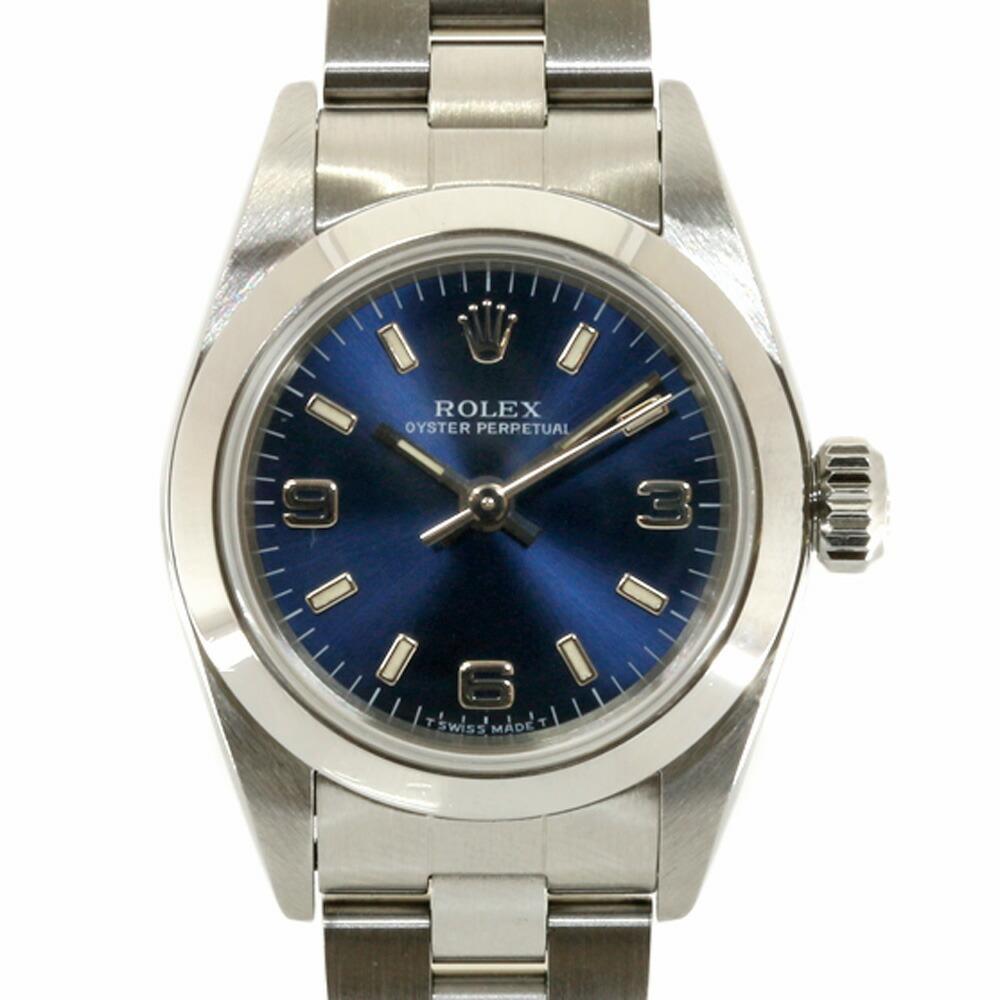ROLEX Rolex SS Watch Oyster Perpetual U No. 1997 67180 Silver Blue Ladies
