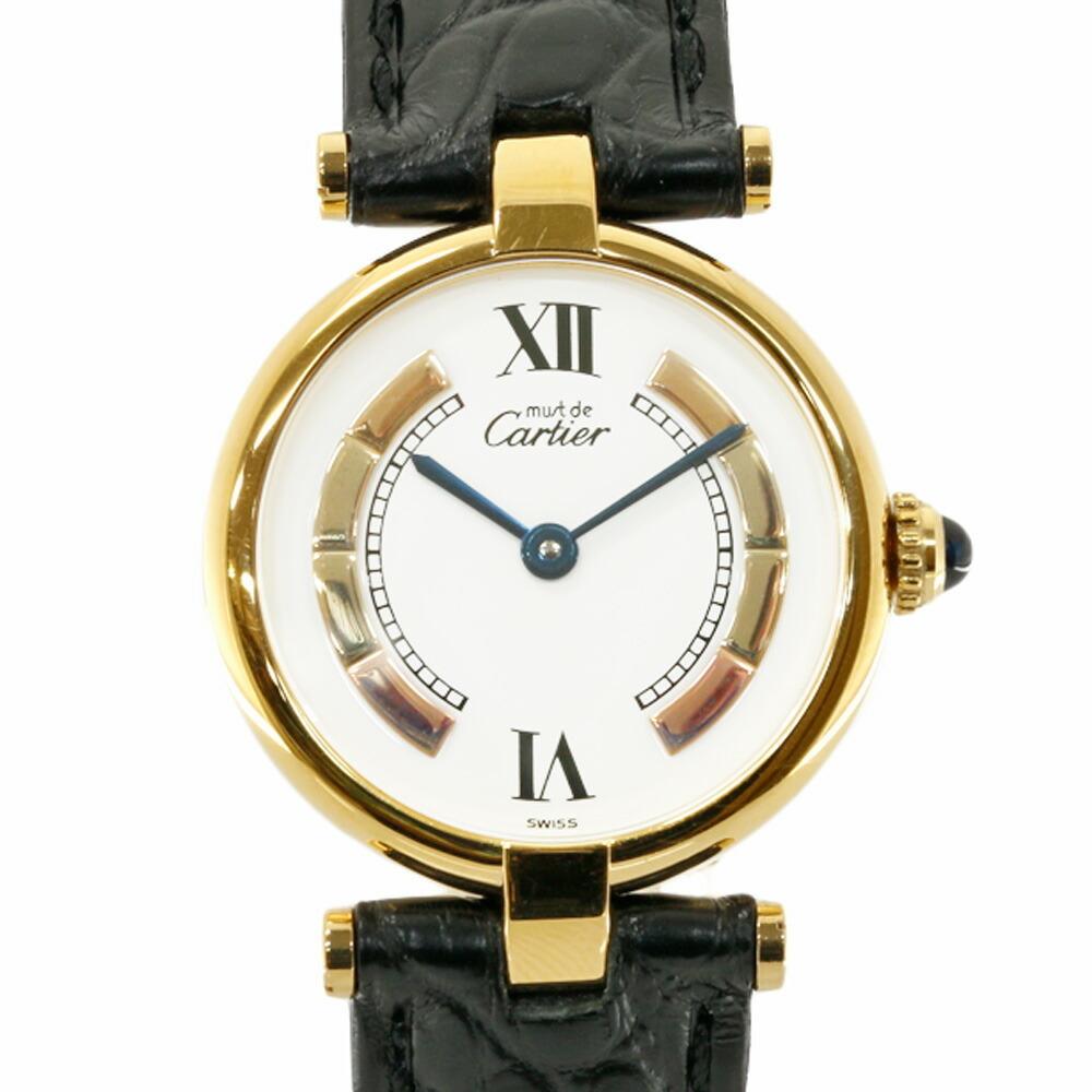 CARTIER Cartier GP SV925 Leather Watch Mast Vermeil Gold Black White Ladies Silver 925