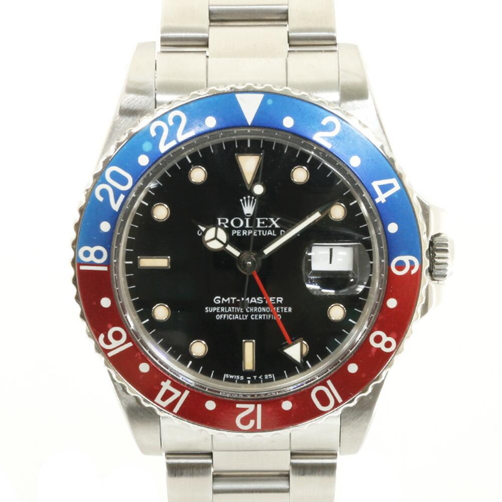 ROLEX Rolex SS Watch Oyster Perpetual R No. 1987-1988 Guarantee Date GMT Master 16750 Black Men