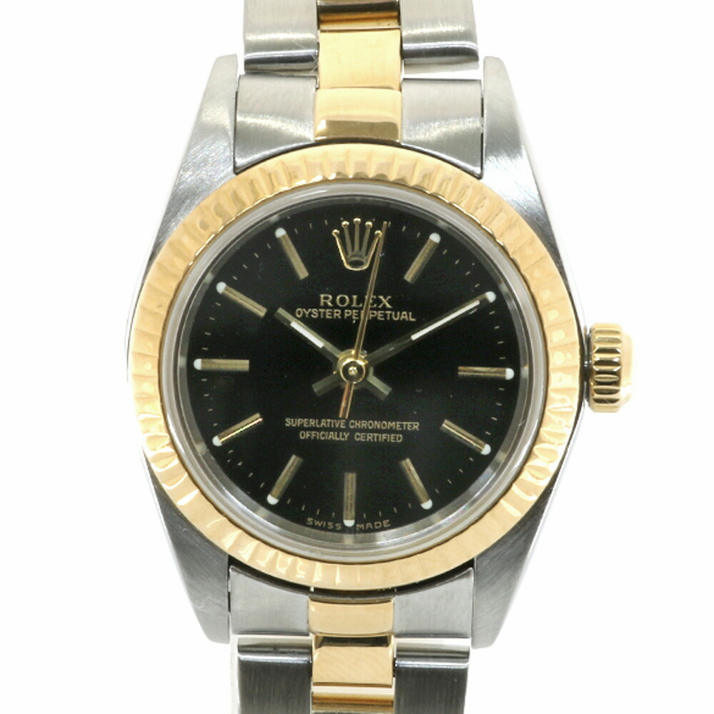 ROLEX Rolex SS K18YG Watch Oyster Perpetual P No. 2000 76193 Silver Gold Black Ladies