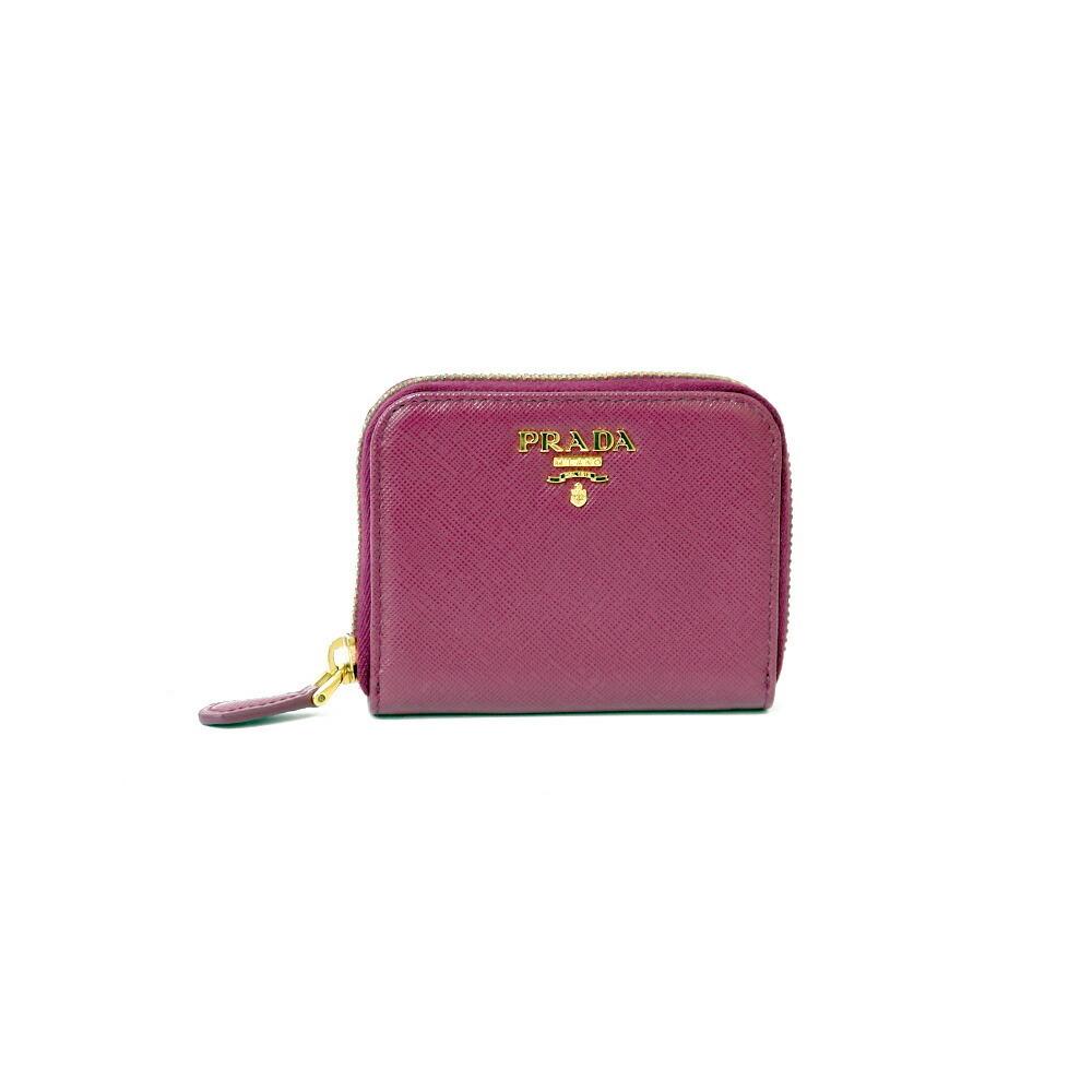 PRADA Prada Coin Case Saffiano Gold Hardware Logo 1MM268 Purple Ametista Leather