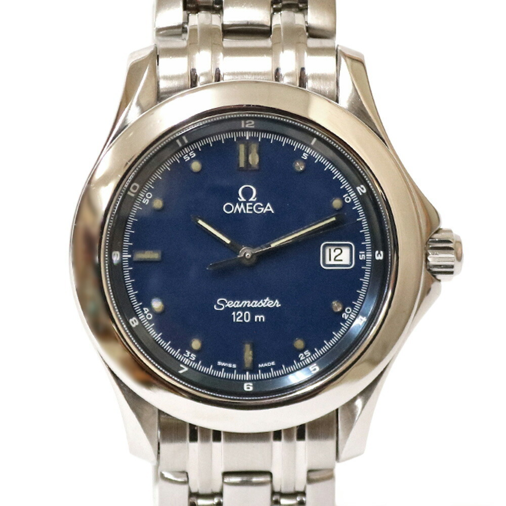 OMEGA Omega SS Watch 120m Seamaster Silver Blue Men's