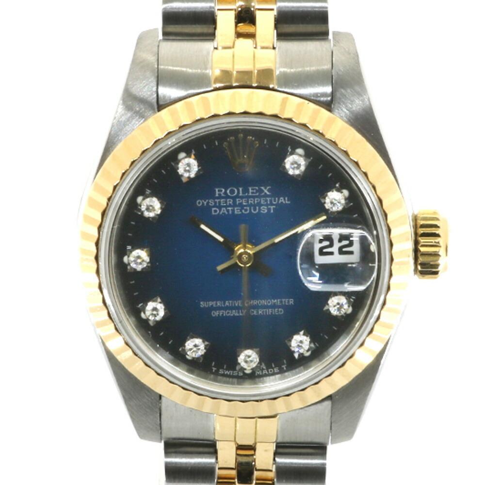 ROLEX Rolex SS K18YG Watch Oyster Perpetual L No. 1989-1990 10P Diamond Blue Gradation Datejust 69173G Silver Gold Ladies