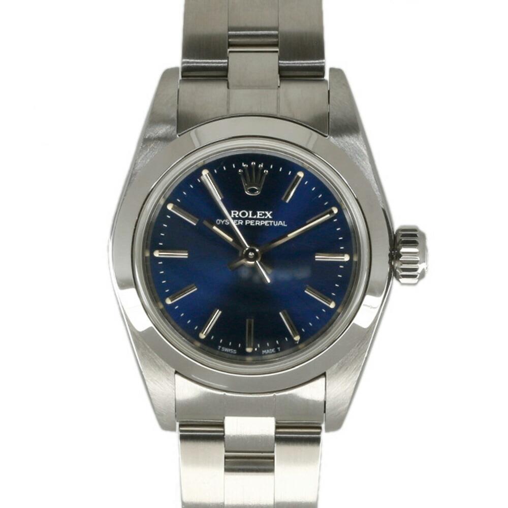 ROLEX Rolex SS Watch Oyster Perpetual U No. 1997 Guarantee 67180 Silver Blue Ladies