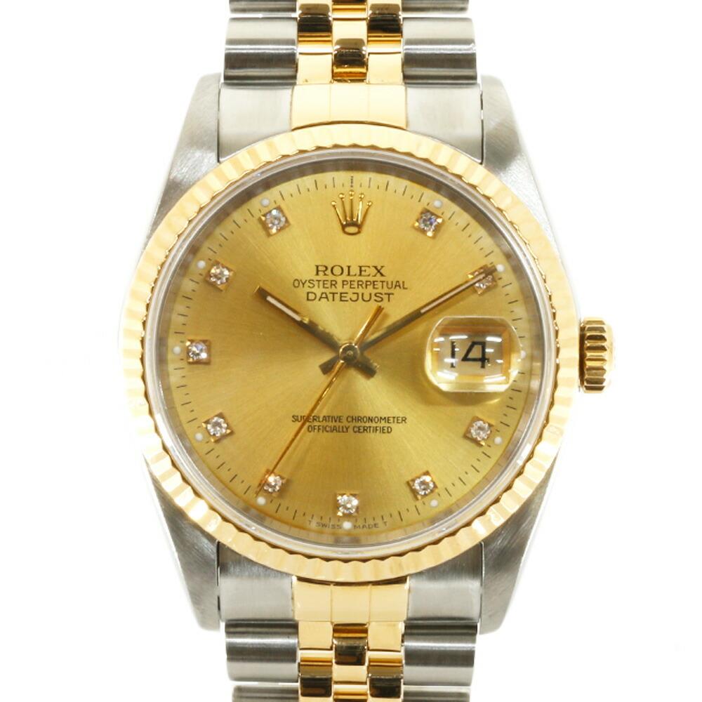 ROLEX Rolex SS K18YG Watch Oyster Perpetual X No. 1991 10P Diamond Datejust 16233G Silver Gold Men's