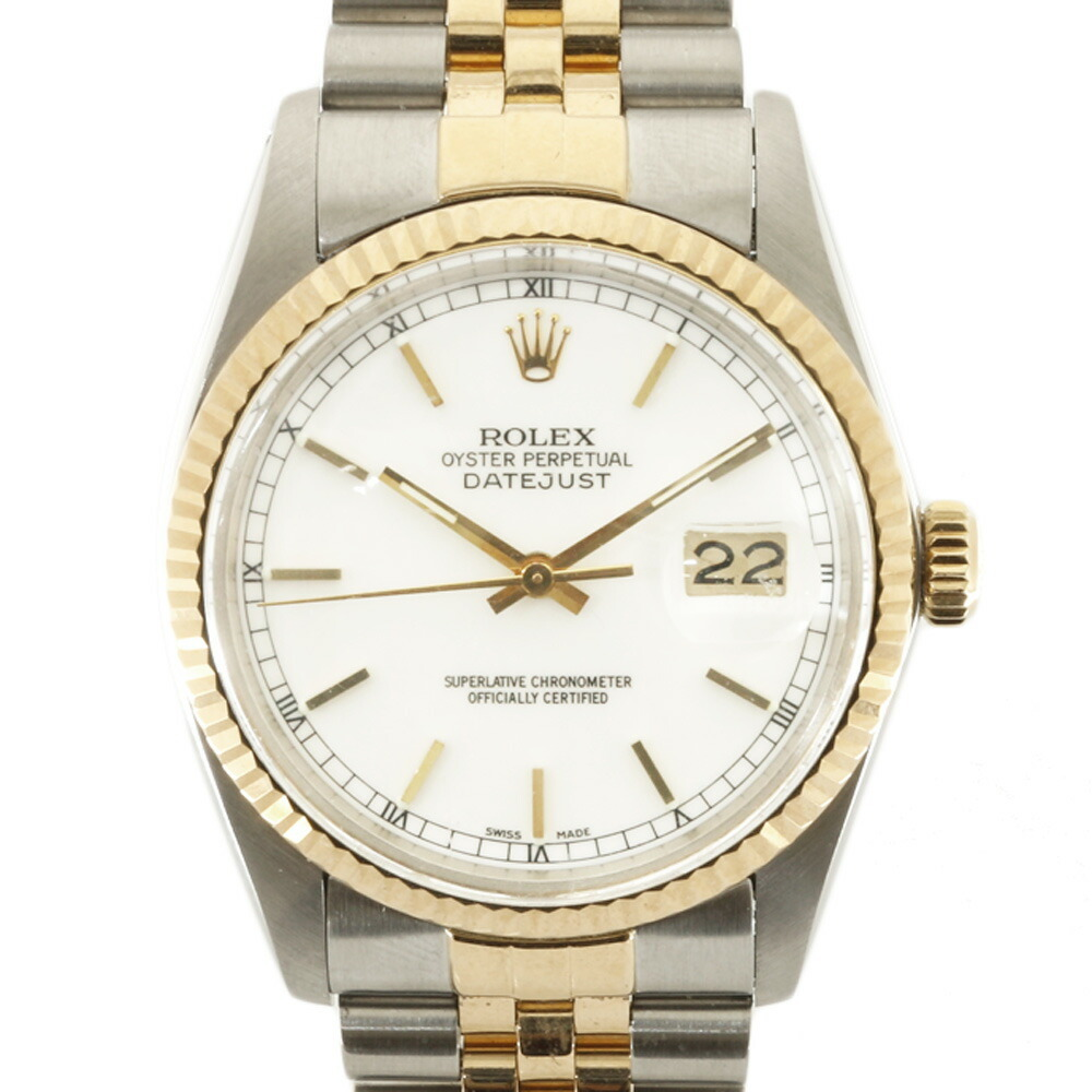ROLEX Rolex SS K18YG Watch Oyster Perpetual No. 84 1984 Datejust 16013 Silver Gold White Men's