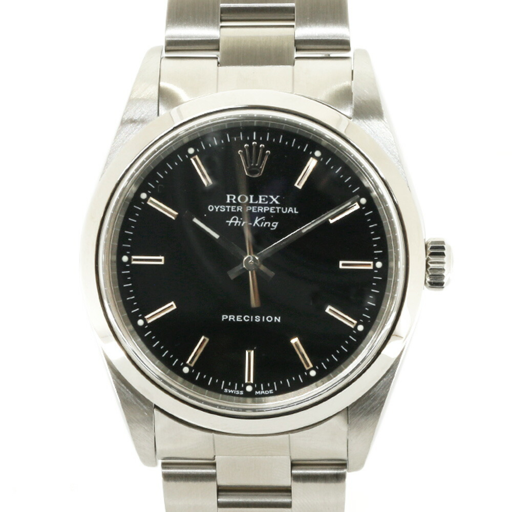 ROLEX Rolex SS Watch Oyster Perpetual A No. 1998-1999 Air King Precision 14000 Silver Black Men's