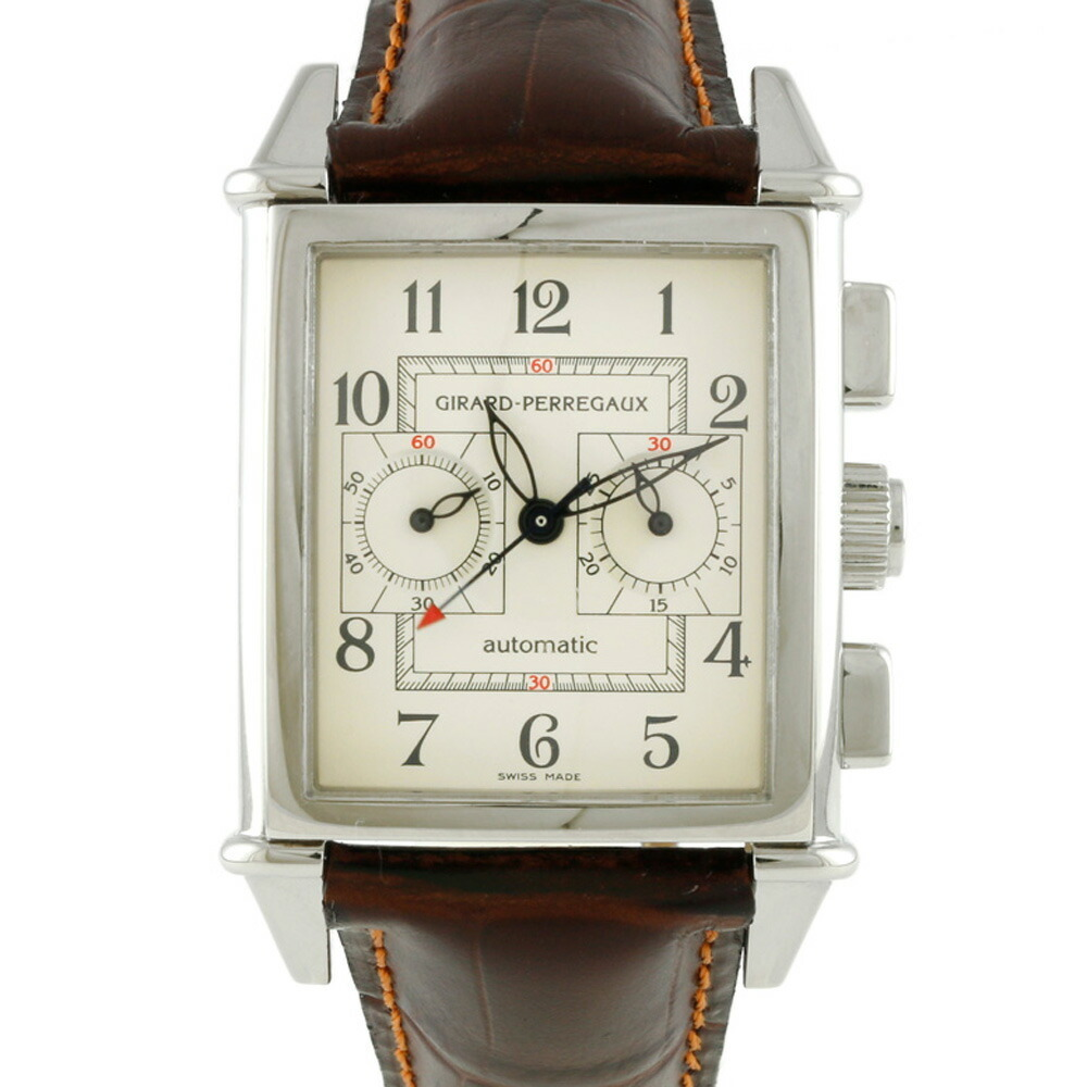 GIRARD-PERREGAUX SS Watch Limited Edition Vintage 1945 2599 Silver Ivory Brown Men's Leather