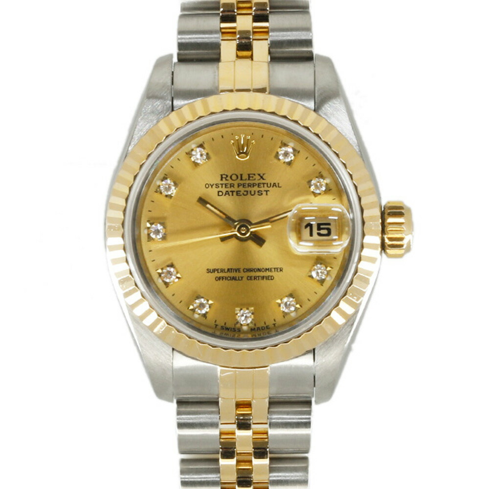 ROLEX Rolex SS K18YG Watch Oyster Perpetual S No. 1993 10P Diamond Datejust 69173G Silver Gold Ladies
