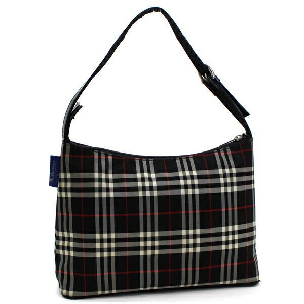 Burberry Blue Label One Shoulder Bag Plaid Nylon Black BURBERRYS BLUE LABEL Ladies